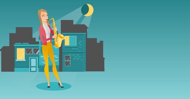 Músico tocando saxofone