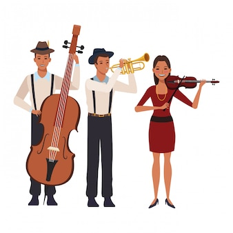 Músico, tocando, trompete, baixo, e, violino