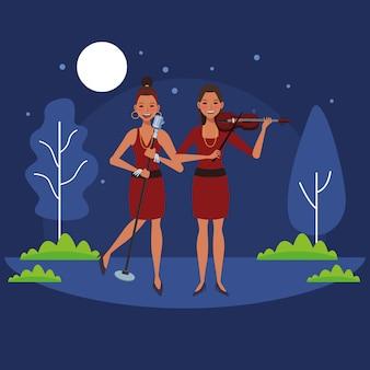 Músico tocando violino e cantando