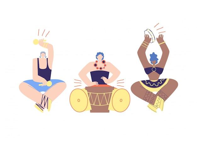 Músico tribal folclórica africana band flat cartoon