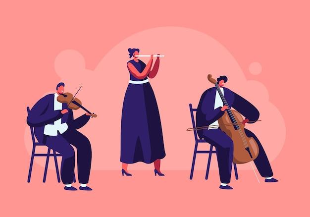 Músicos com instrumentos tocam no palco com violino e flauta