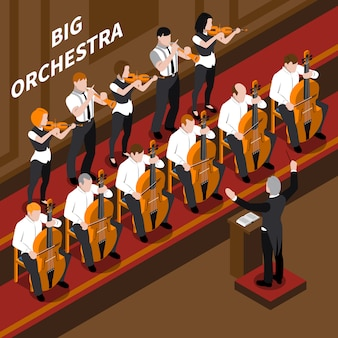 Músicos de orquestra e maestro tocando na composição isométrica de concerto de música clássica ilustração em vetor 3d