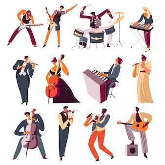 Músicos de orquestra tocando instrumentos na banda