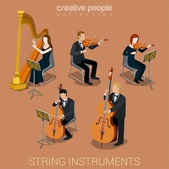Músicos de pessoas tocando em conjunto de ilustrações isométricas vetoriais de instrumentos musicais de cordas.