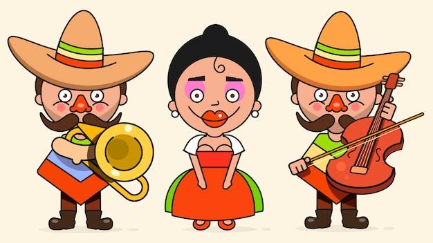 Músicos mexicanos ilustração com dois homens e uma mulher com guitarras em roupas nativas e sombrero plano