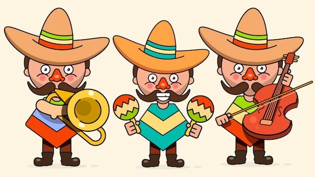 Músicos mexicanos ilustração com três homens com guitarras em roupas nativas e sombrero plano