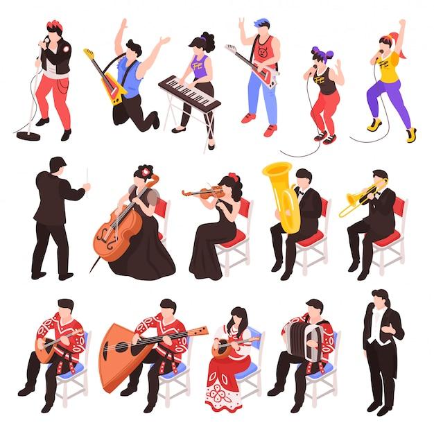 Músicos tocando caracteres isométricos de instrumentos musicais conjunto com banda de rock violoncelista trompete conjunto de jazz clássico