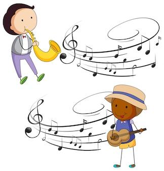 Músicos tocando musica com notas em segundo plano