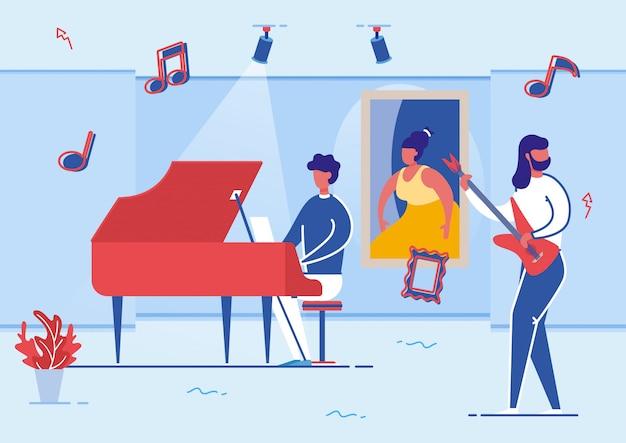 Músicos tocando piano e guitarra na galeria de arte.