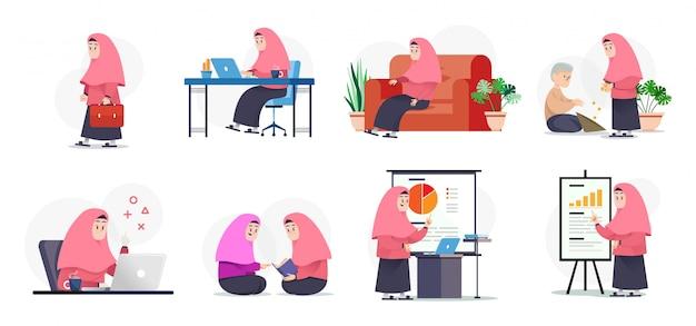 Muslimah fazendo atividades