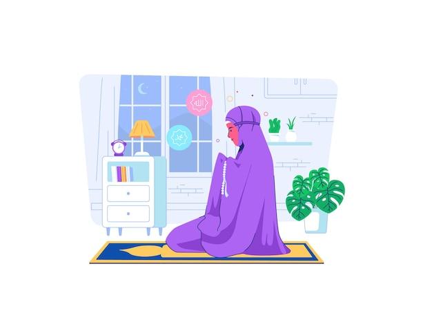 Muslimah ora em casa durante a covid19 situação de pandemia estilo cartoon plana