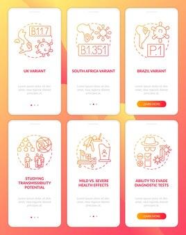 Mutações de vírus na tela da página do aplicativo móvel com conceitos