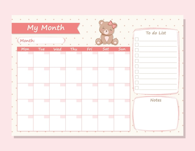 My month planner cute she bear