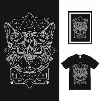Mystic cat line art t shirt design Vetor Premium