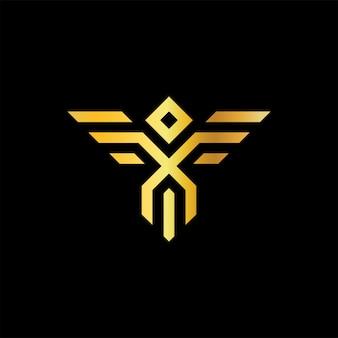 Mythical bird gold monoline ícone logo
