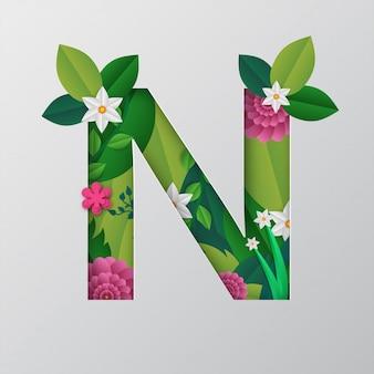 N alfabeto feito por flores e folhas com estilo de corte de papel.