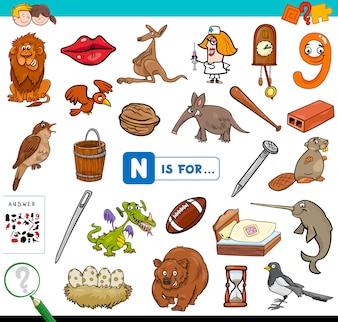 N é para jogo educativo para crianças