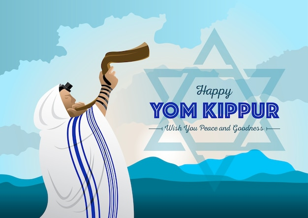 N ilustração de um homem judeu tocando a trompa de carneiro do shofar no dia de celebração de rosh hashanah e yom kippur