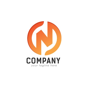 N logotipo design concept