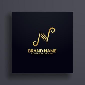 N n design de logotipo conceito premium
