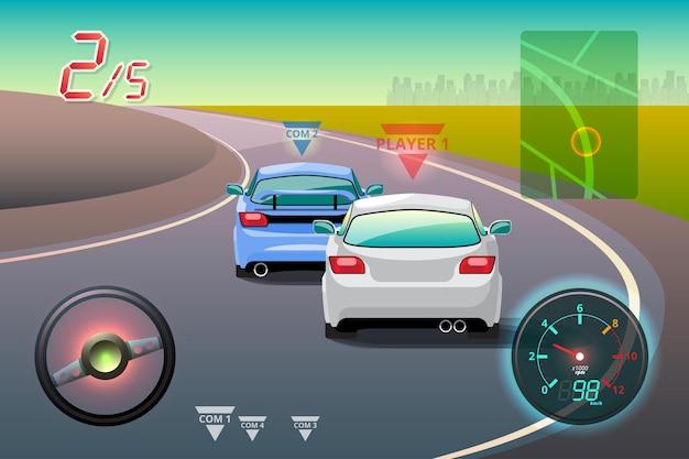 Na competição do jogo, o jogador continuou usando o carro de alta velocidade para vencer no jogo de corrida