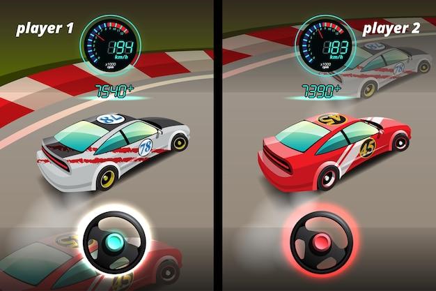 Na competição do jogo, o jogador continuou usando o carro de alta velocidade para vencer no jogo de corrida.