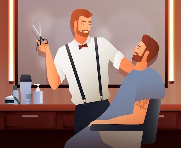 Na composição plana de cabeleireiros