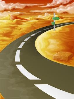 Na estrada no nascer do sol.