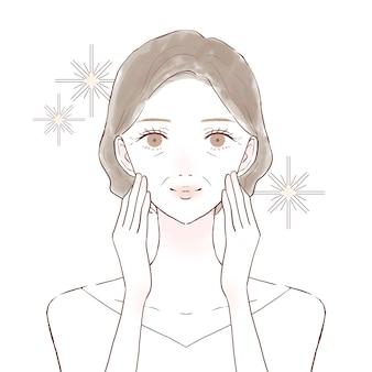 Na frente de uma mulher de meia-idade. imagem de cuidados com a pele. sobre um fundo branco.