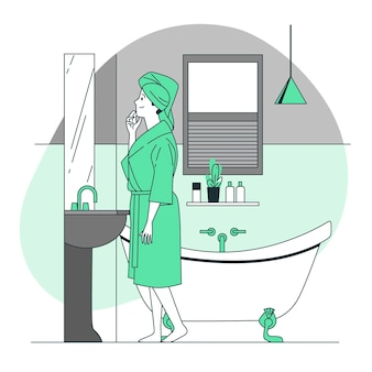Na ilustração do conceito de banheiro