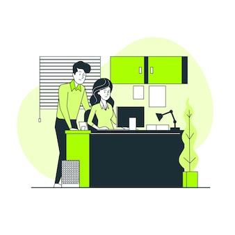 Na ilustração do conceito de escritório