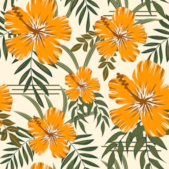 Na moda abstrata padrão sem emenda com folhas tropicais