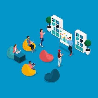 Na moda isométrica pessoas e gadgets coworking center, aprendizagem, cadeiras, laptop, freelancers trabalhando, artistas, programadores são isolados