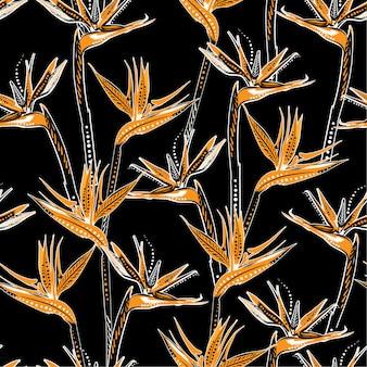 Na moda mão desenhada brid do paraíso flor tropical no escuro tropical humor sem costura apttern