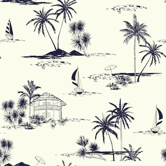 Na moda mão desenhada ilha sem costura padrão vintage humor wih mar, sol, palmeiras, veleiro