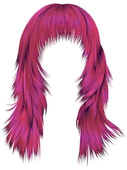 Na moda mulher cabelos compridos cores brilhantes de rosa. moda de beleza. 3d realista