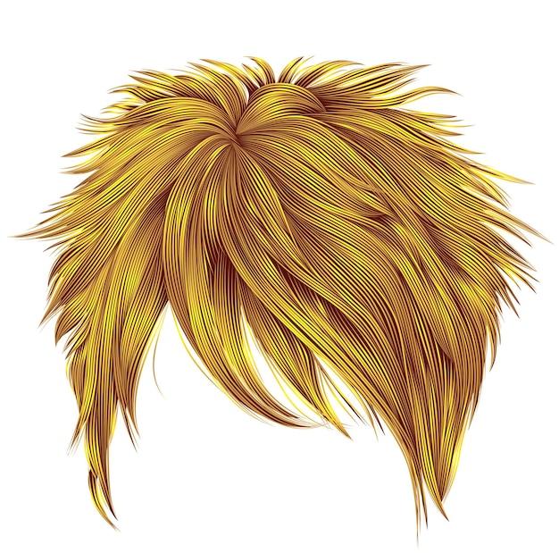 Na moda mulher cabelos curtos cores amarelas brilhantes. franja. estilo de moda beleza. realista.