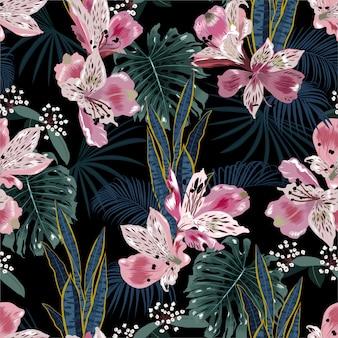 Na moda sem costura escuro tropical padrão, flores desabrochando, plantas de folhagem exótica, folha de monstera, folhas de palmeira