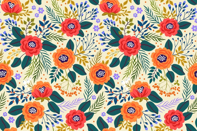 Na moda sem costura padrão floral com flores brilhantes e folhas em um fundo branco. fundo floral moderno.
