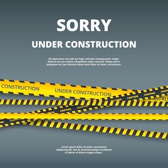 Na página de construção. ilustração de modelo de design de site com atenção perigo listras segurança tipo vetor ui modelo