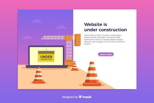Na página de destino da web de construção