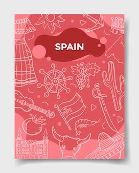 Nação da espanha com estilo doodle para modelo de banners, panfletos, livros e capa de revista
