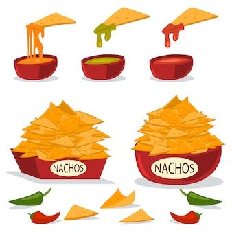 Nachos em um prato com molhos de queijo, pimentão e guacamole. ilustração plana dos desenhos animados de comida mexicana, isolada no fundo branco.