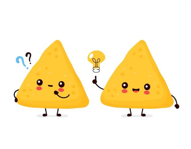 Nachos engraçados felizes bonitos com ponto de interrogação e lâmpada de ideia. desenho animado personagem ilustração ícone do design.