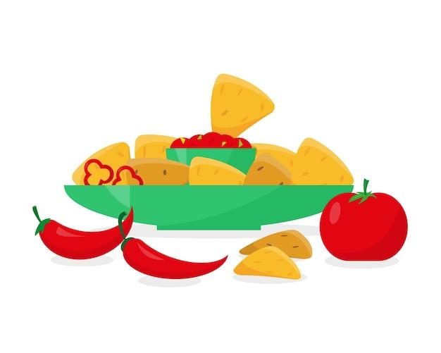 Nachos no prato com molho de tomate ou pimenta