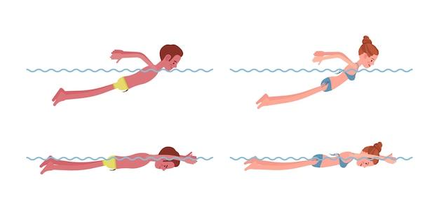 Nadador masculino e feminino em conjunto de estilo de natação borboleta