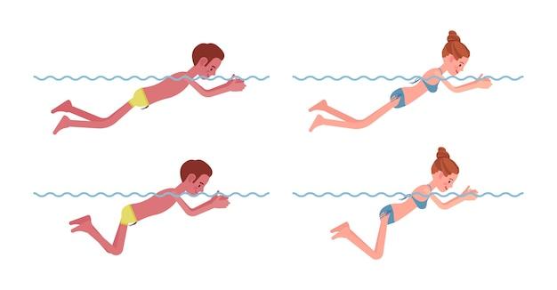 Nadador masculino e feminino em conjunto de estilo de natação de peito