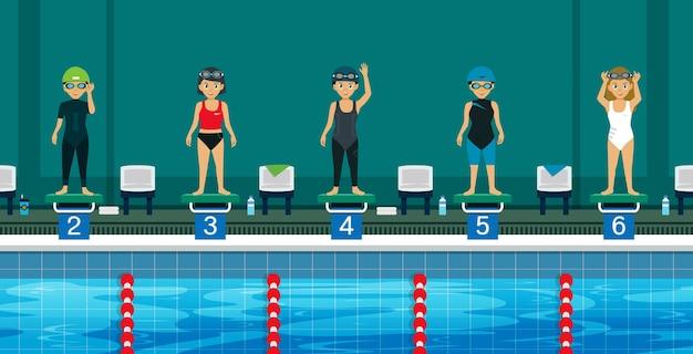 Nadador na linha de partida nadando esportivamente.