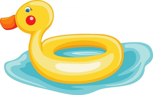 Nadar, anel, pato, ilustração
