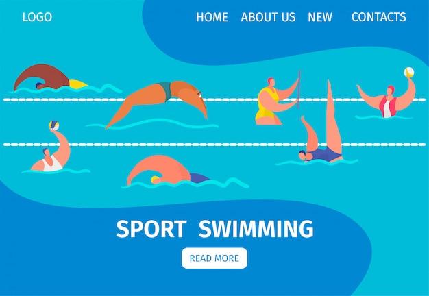 Nade a bandeira da web do esporte com os nadadores profissionais das pessoas na piscina, ilustração dos desenhos animados.